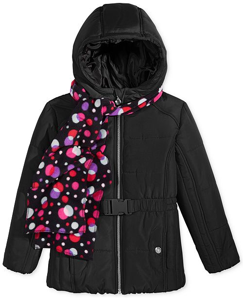 S. Rothschild Belted Puffer Jacket with Dot-Print Scarf, Big Girls