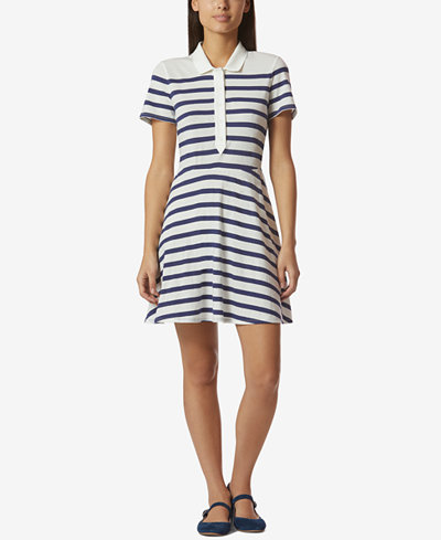 Avec Les Filles Cotton Striped Polo-Style Dress