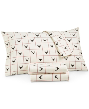 Martha Stewart Collection Stag Head 100 Cotton 4Pc Flannel California King Sheet Set Created for Macys