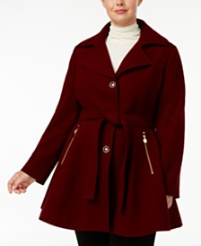 I.N.C. Plus Size Skirted Belted Coat, Created for Macy's
