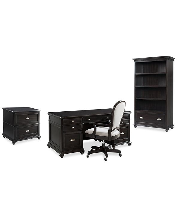 Furniture Clinton Hill Ebony Home Office Furniture Set, 4-Pc. Set (Executive Desk, Lateral File Cabinet, Open Bookcase & Upholstered Desk Chair), Created for Macy's