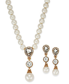Charter Club Gold-Tone Cubic Zirconia and Imitation Pearl Lariat Necklace & Drop Earrings Set, Created for Macy's