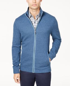 Men's Vintage Style Sweaters – 1920s to 1960s Tasso Elba Mens Herringbone Full-Zip Knit Sweater Created for Macys $47.99 AT vintagedancer.com