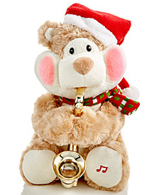 Holiday Lane Musical Animated Plush Bear With Saxophone, Created for Macy's