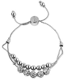 GUESS Silver-Tone Pavé Beaded Double-Row Slider Bracelet