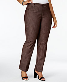 Lee Platinum Plus Size Total Freedom Madelyn Denim Trousers, Created for Macy's