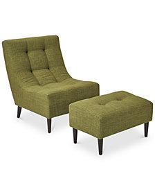 Hudson Chair & Ottoman Set, Quick Ship