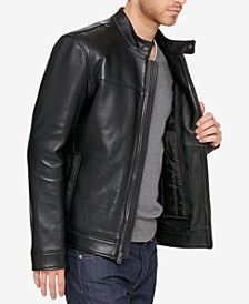 Men's Leather Moto Jacket With Removable Liner