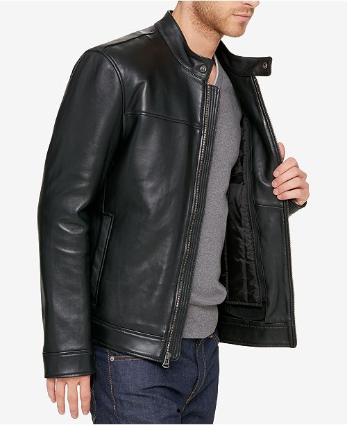 Cole Haan Men's Leather Moto Jacket With Removable Liner