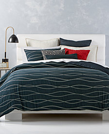 CLOSEOUT! Hotel Collection Modern Wave Cotton Reversible Full/Queen Duvet Cover, Created for Macy's