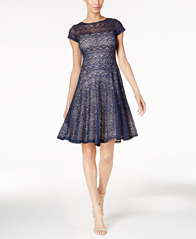 Sangria Sequined Lace Fit Amp Flare Dress Dresses Women