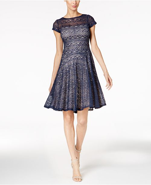 Sangria Sequined Lace Fit Amp Flare Dress Amp Reviews