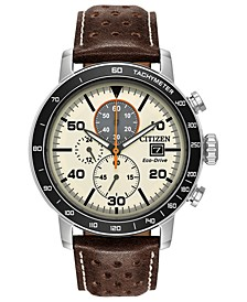 Eco-Drive Men's Chronograph Brown Leather Strap Watch 44mm
