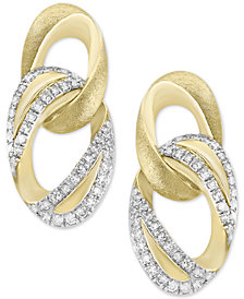 D'Oro by EFFY® Diamond Link Drop Earrings (1/4 ct. t.w.) in 14k Gold