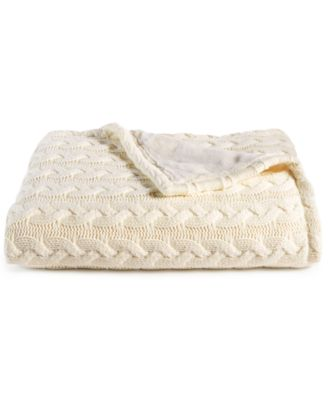 martha stewart collection solid cable knit throw with faux fur reverse created for macyu0027s - Cable Knit Throw