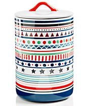 Festive Tree Collection Striped Lidded Canister, Created for Macy's