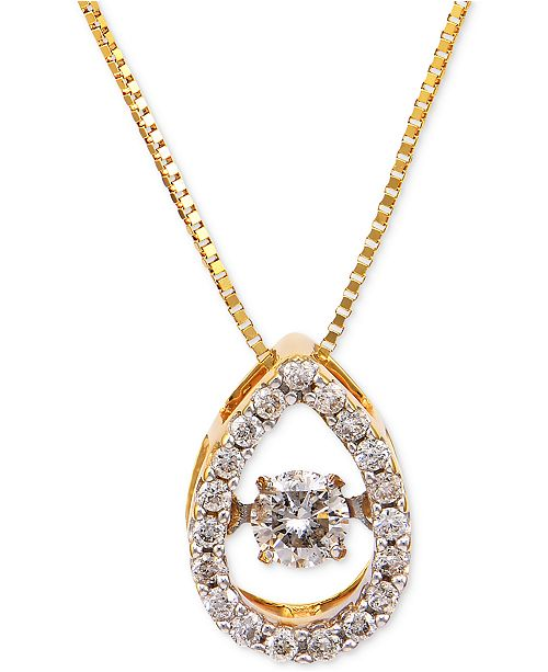 Macy's Diamond Pendant Necklace (1/4 ct. t.w.) in 14k Gold