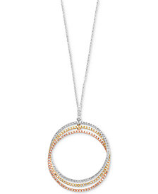 Trio by EFFY® Diamond Triple Circle Pendant Necklace (3/4 ct. t.w.) in 14k White, Yellow & Rose Gold