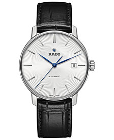 Rado Men's Swiss Automatic Coupole Classic Black Leather Strap Watch 38mm