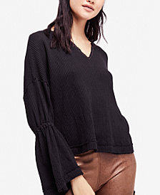 Free People Cotton Dahlia Bell-Sleeve Thermal Top