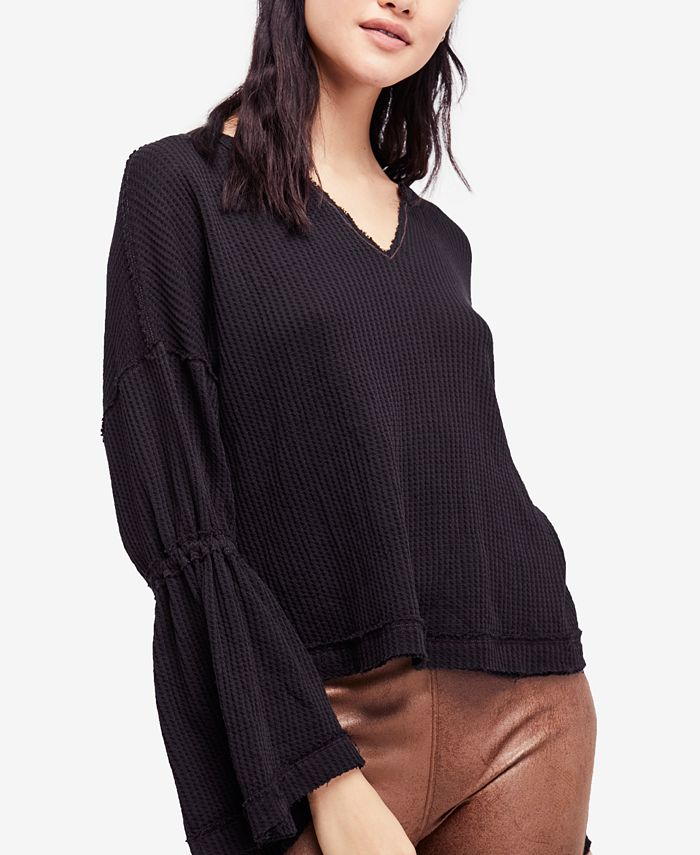 Free People - Cotton Dahlia Bell-Sleeve Thermal Top