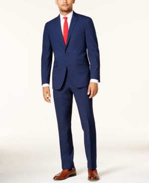 Kenneth Cole Reaction Men's Slim-Fit Cobalt Tonal Grid Techni-Cole Suit thumbnail