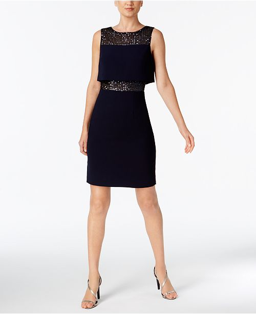 Calvin Klein Sequined Layered Sheath Dress