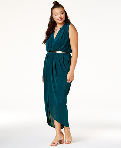 City Chic Trendy Plus Size Belted Jersey Dress