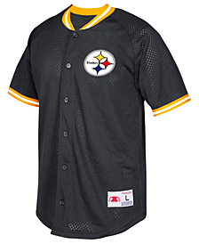 Mitchell & Ness Men's Pittsburgh Steelers Seasoned Pro Mesh Button Front Shirt