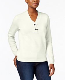 Karen Scott Hardware V-Neck Cotton Sweater, Created for Macy's