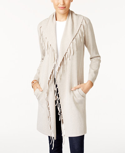 Style & Co Petite Fringe-Trim Duster Cardigan, Created for Macy's ...