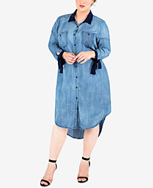 Standards and Practices Trendy Plus Size Tie-Sleeve Chambray Shirtdress