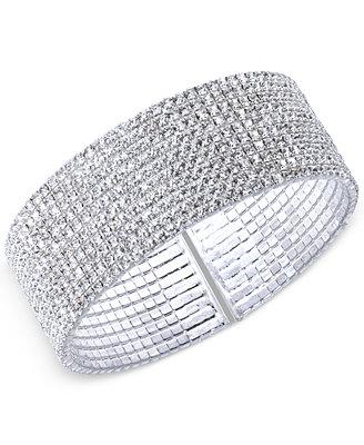 silver-tone-crystal-cuff-bracelet by anne-klein