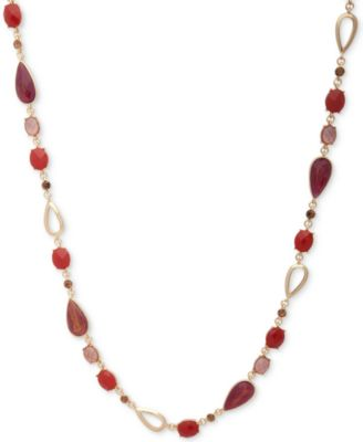 Image of Anne Klein Multi-Stone Long Statement Necklace