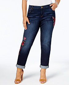 Kut from the Kloth Plus Size Catherine Embroidered Boyfriend Jeans