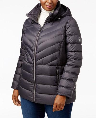MICHAEL Michael Kors Plus Size Ruched Packable Down Coat - Women ...