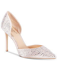 Jewel Badgley Mischka Alexandra Embelished Pointed-Toe Evening Pumps