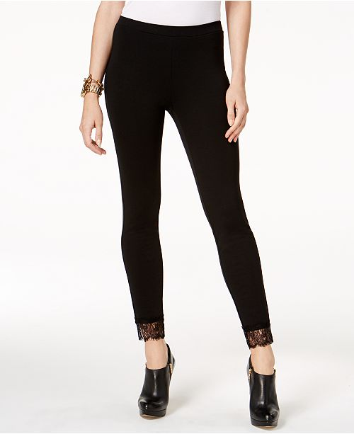 cd3b3fb93453d Michael Kors Lace-Cuff Ponté Leggings   Reviews - Pants   Capris ...