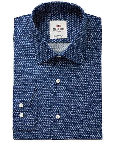 Ben Sherman Men's Slim-Fit Navy Floral Print Dress Shirt