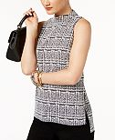MICHAEL Michael Kors High-Low Plaid Mock-Neck Top