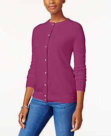 Karen Scott Luxsoft Crew-Neck Cardigan, Created for Macy's