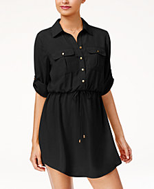 Be Bop Juniors' Roll-Tab Shirt Dress with Utility Pockets