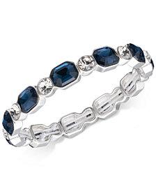 Anne Klein Silver-Tone Blue & Clear Crystal Stretch Bracelet