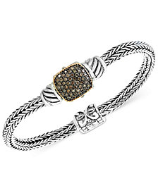 Balissima by EFFY® Diamond Cluster Two-Tone Bracelet (5/8 ct. t.w.) in Sterling Silver and 18k Gold