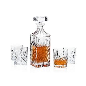 Godinger Dublin Whiskey Decanter Bar Set with 4 Glasses