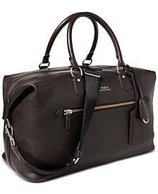 Polo Ralph Lauren Men's Pebbled Leather Duffel Bag