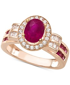 Certified Ruby (1-1/2 ct. t.w.) & Diamond (3/8 ct. t.w.) Ring in 14k White Gold (Also Available in Emerald & Sapphire)
