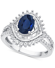 Sapphire (1-1/3 ct. t.w.) & Diamond (3/4 ct. t.w.) Ring in 14k White Gold