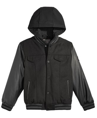 Ben Sherman Hooded Baseball Bomber Jacket, Big Boys (8-20) - Coats ...