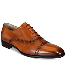 Roberto Cavalli Men's Burnished Cap-Toe Oxfords